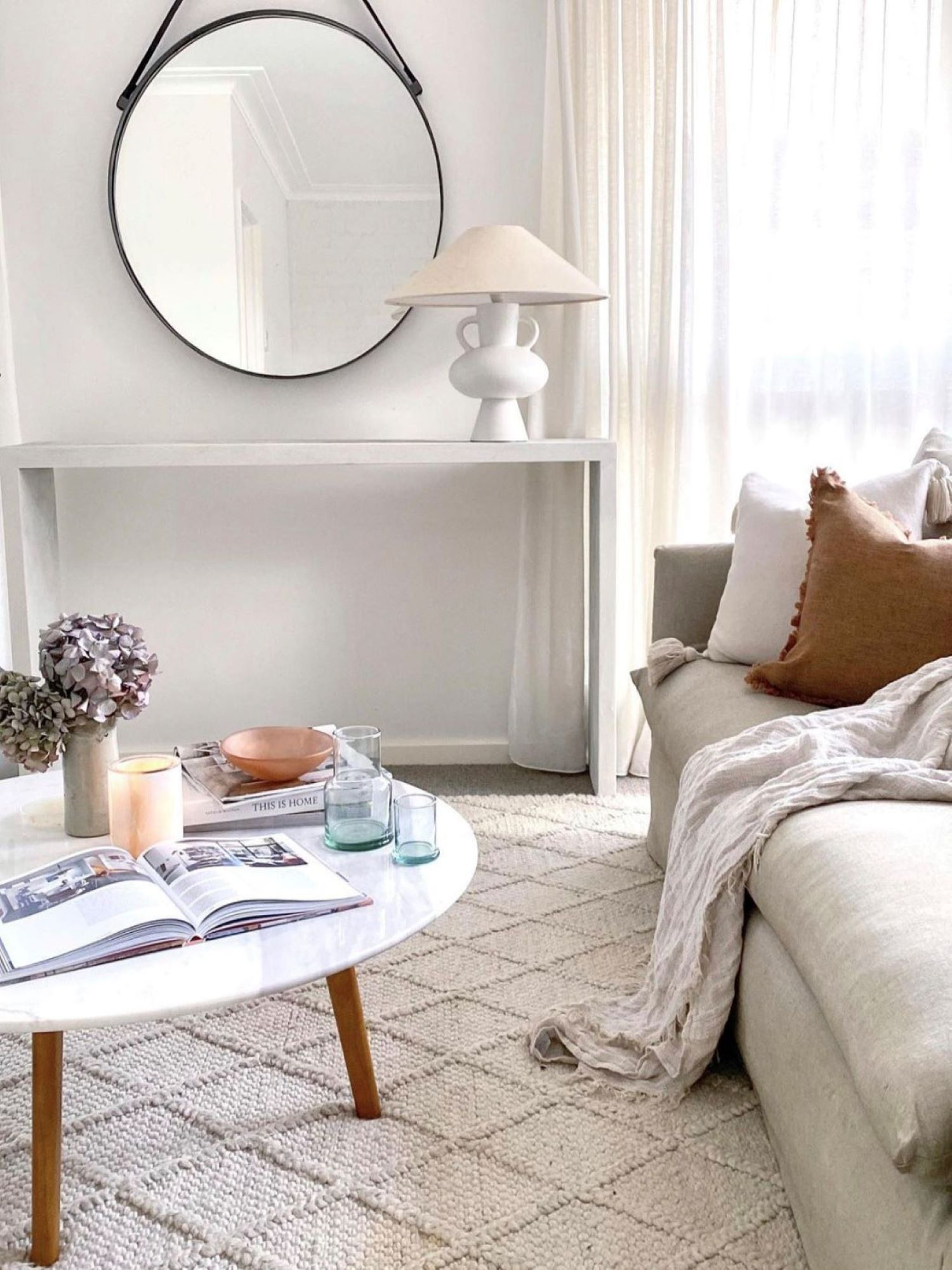 Interior designer Bettina Brent mid century inspired living room