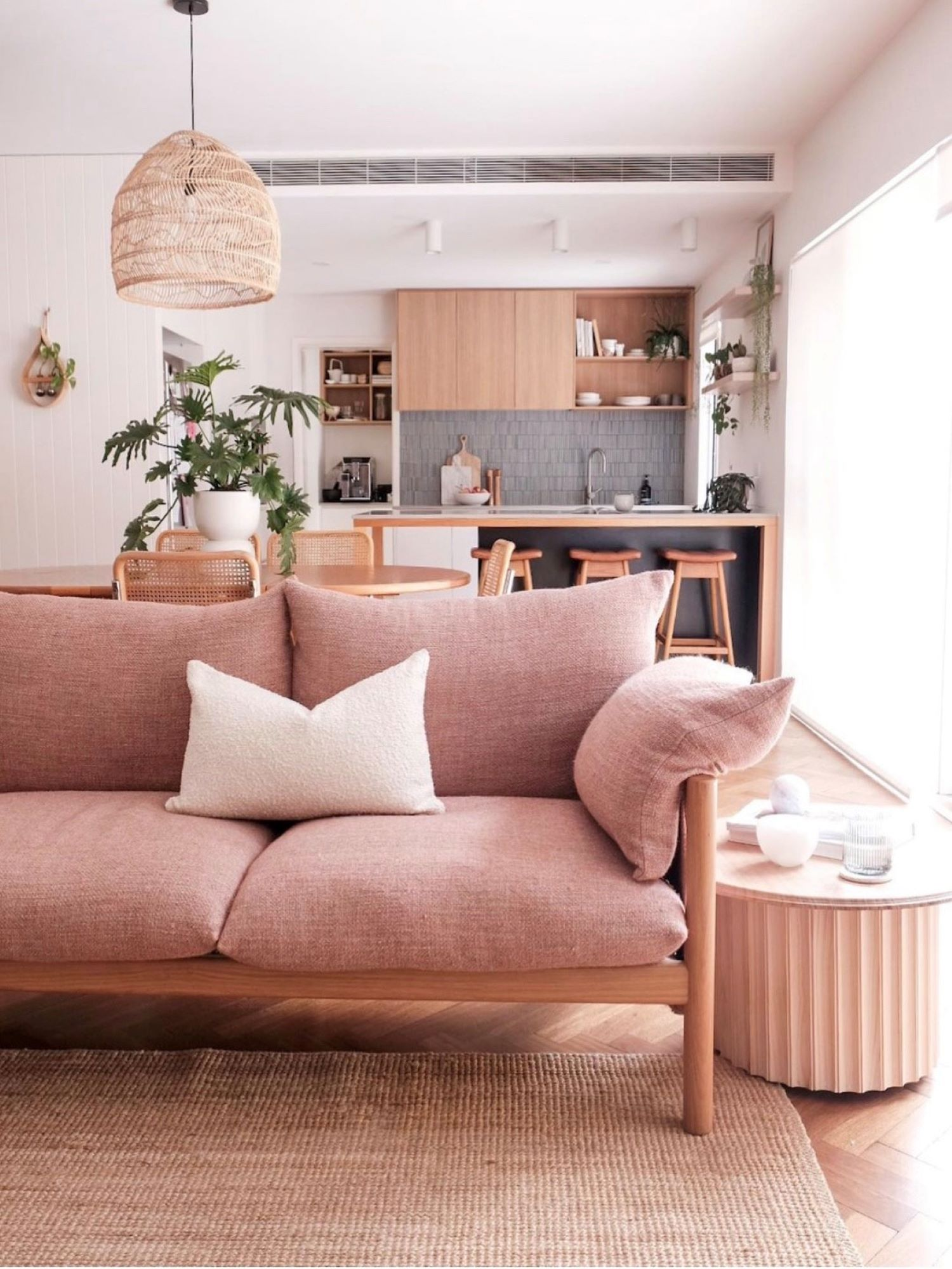 Interior designer Bettina Brent living room with blush couch
