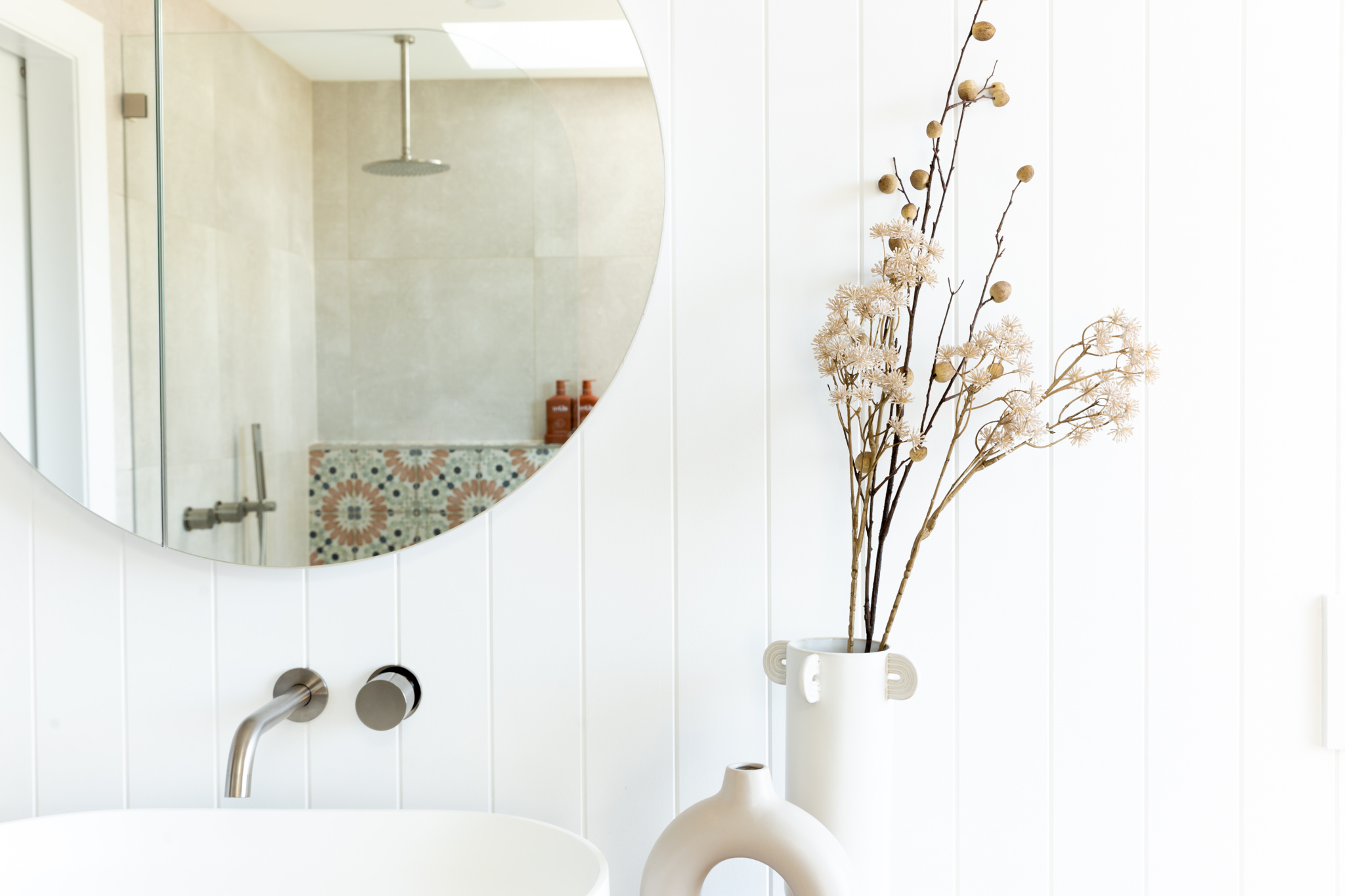 Bone + Blanc Bathroom Renovation - Wall Panelling