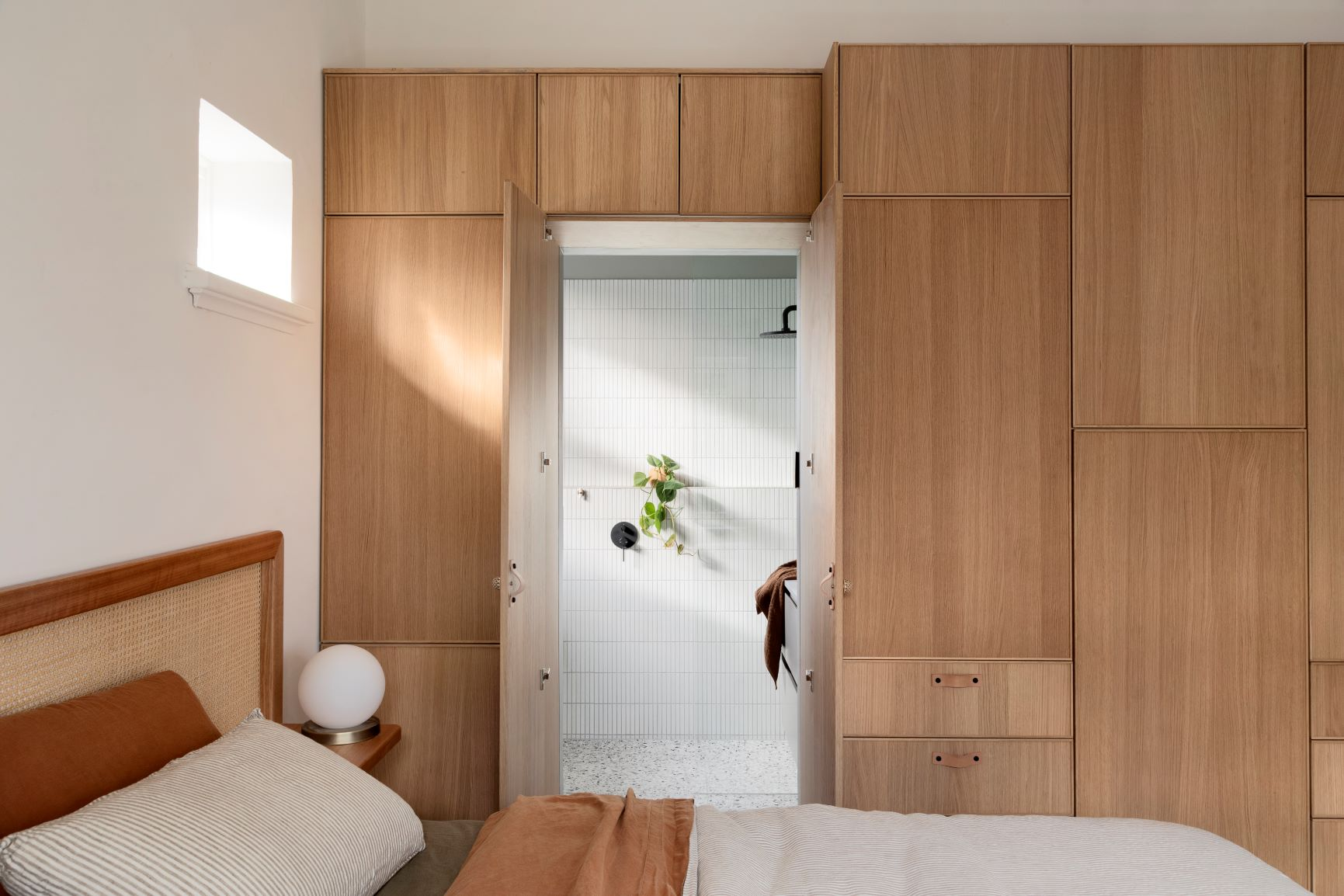 Alison Lewis Interiors Cecil Street Project Bedroom Ensuite with Wardrobe