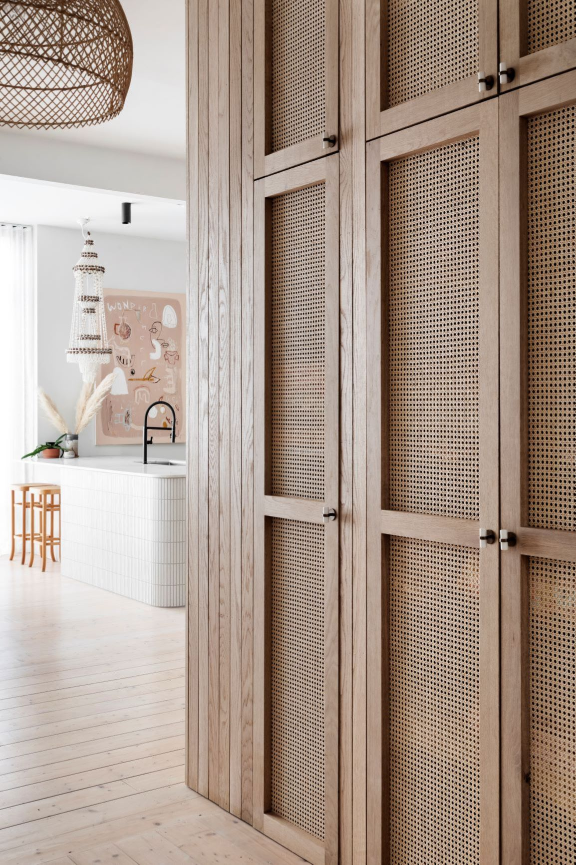 Alison Lewis Interiors Cecil Street Project Rattan Cabinetry