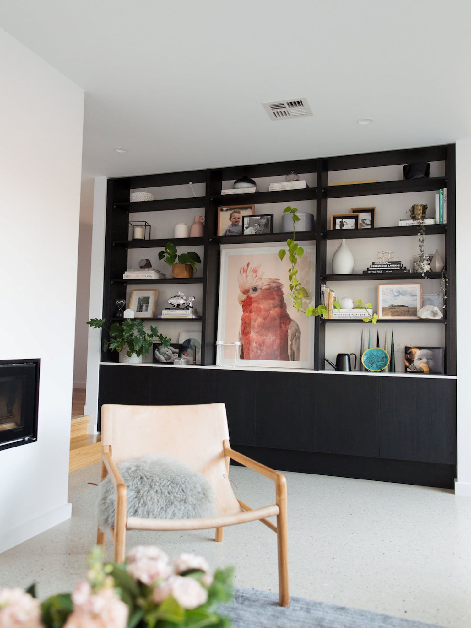 Interior Stylist Gina from Style Curator Living Room with Open Shelves