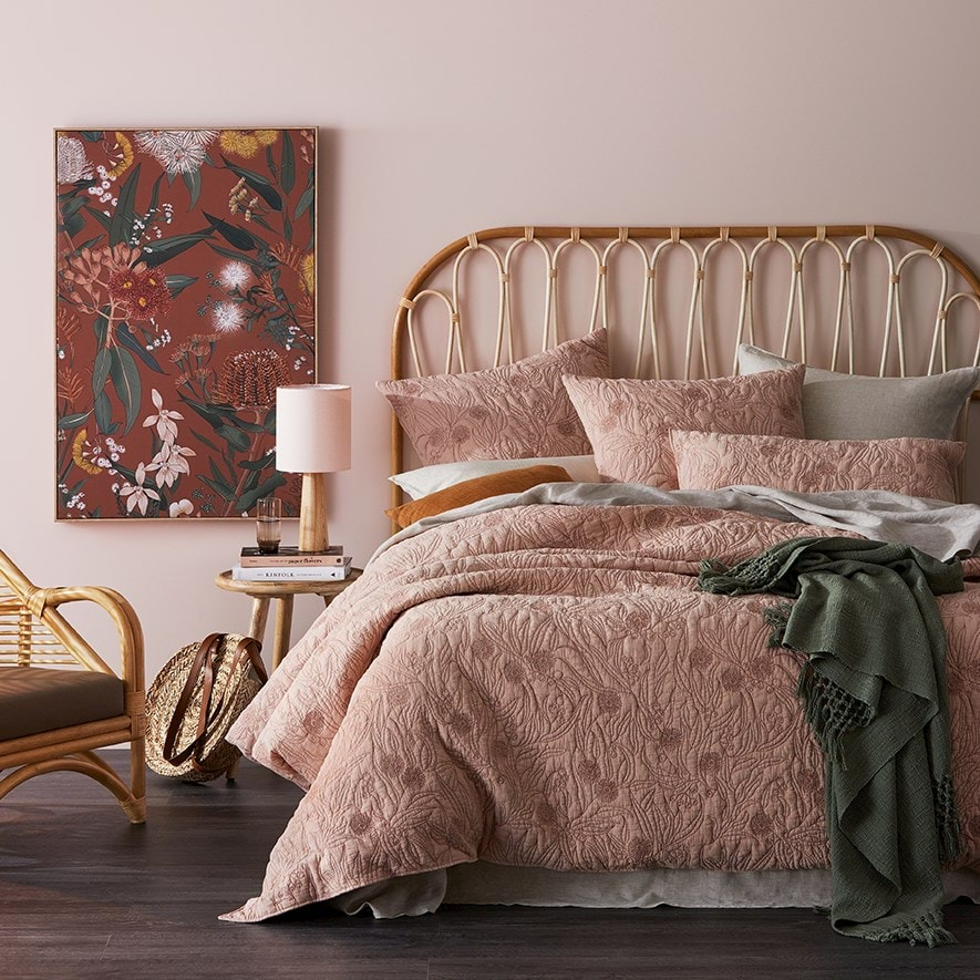 Adairs floral bed linen in blush bedroom