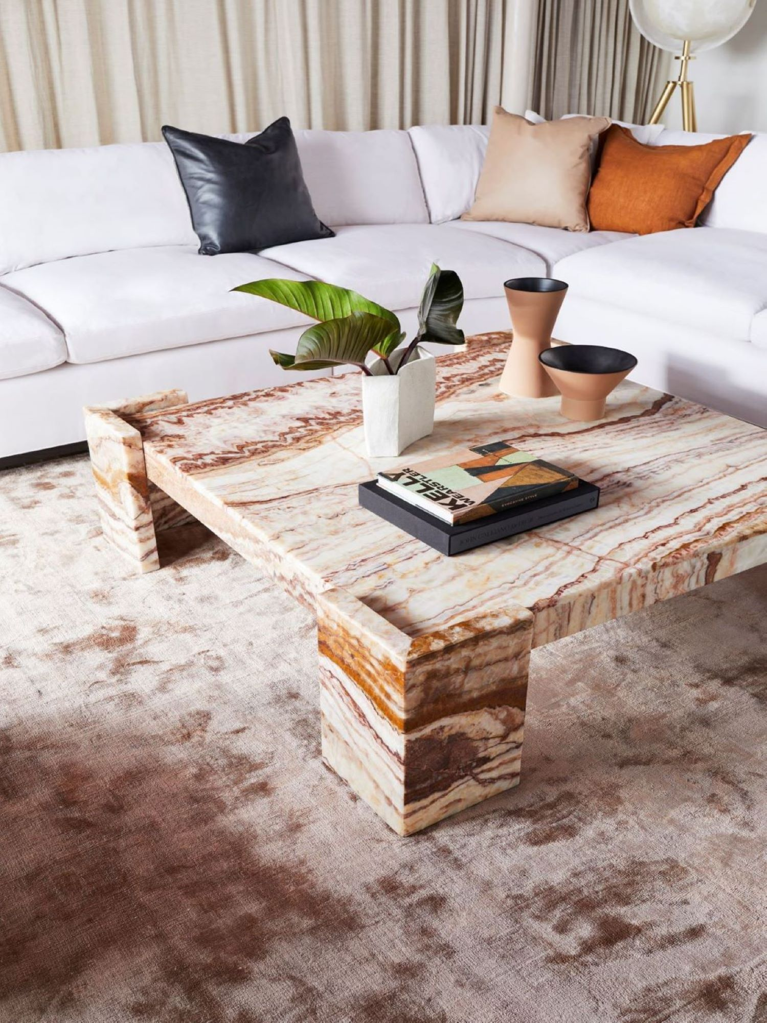 Coco Republic gypsum marble coffee table styling