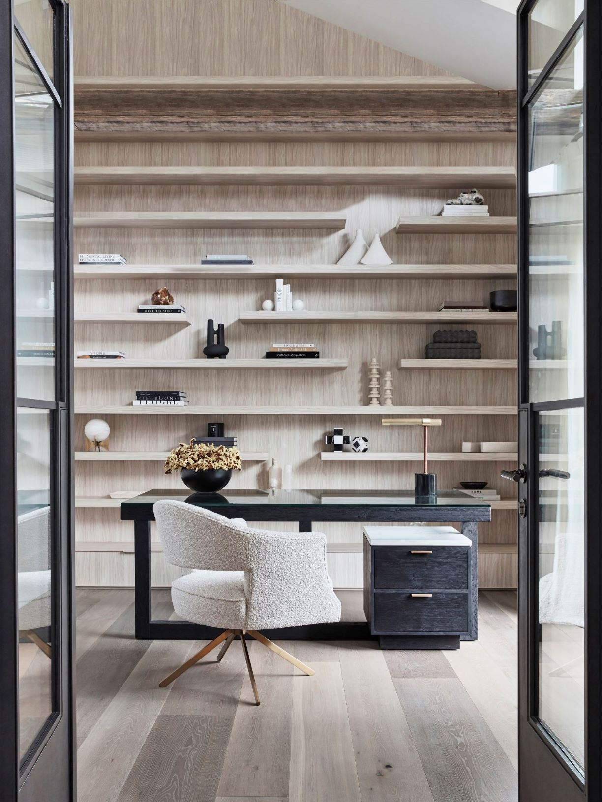 Coco Republic study with open shelves styled
