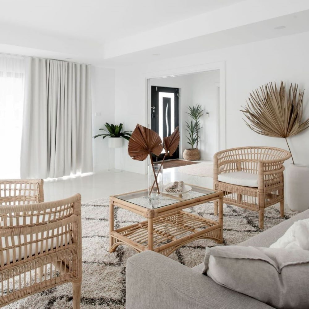 Coastal Living Room with Rattan Chairs