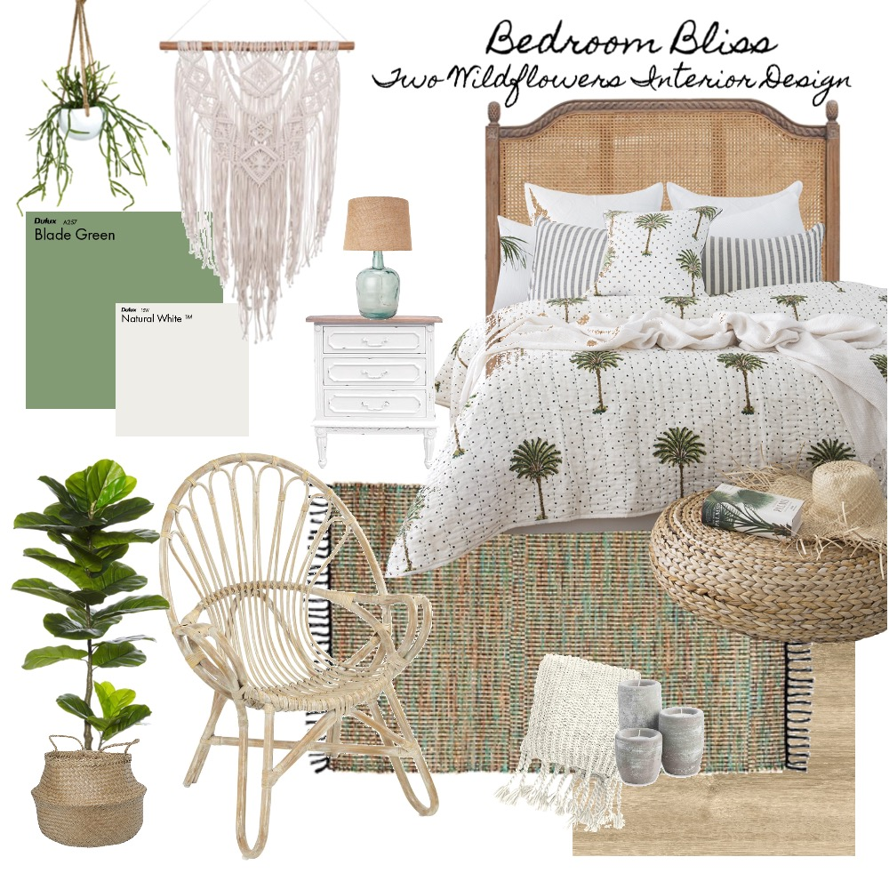 Interior Designers Hayley and Bonnie from Two Wildflowers Interior Design Boho Bedroom Mood Board