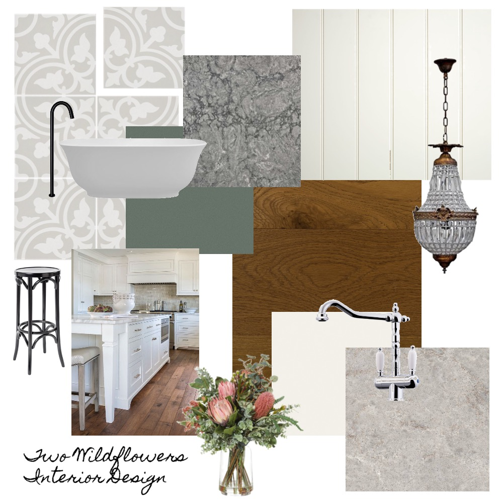 Interior Designers Hayley and Bonnie from Two Wildflowers Interior Design Kitchen Mood Board