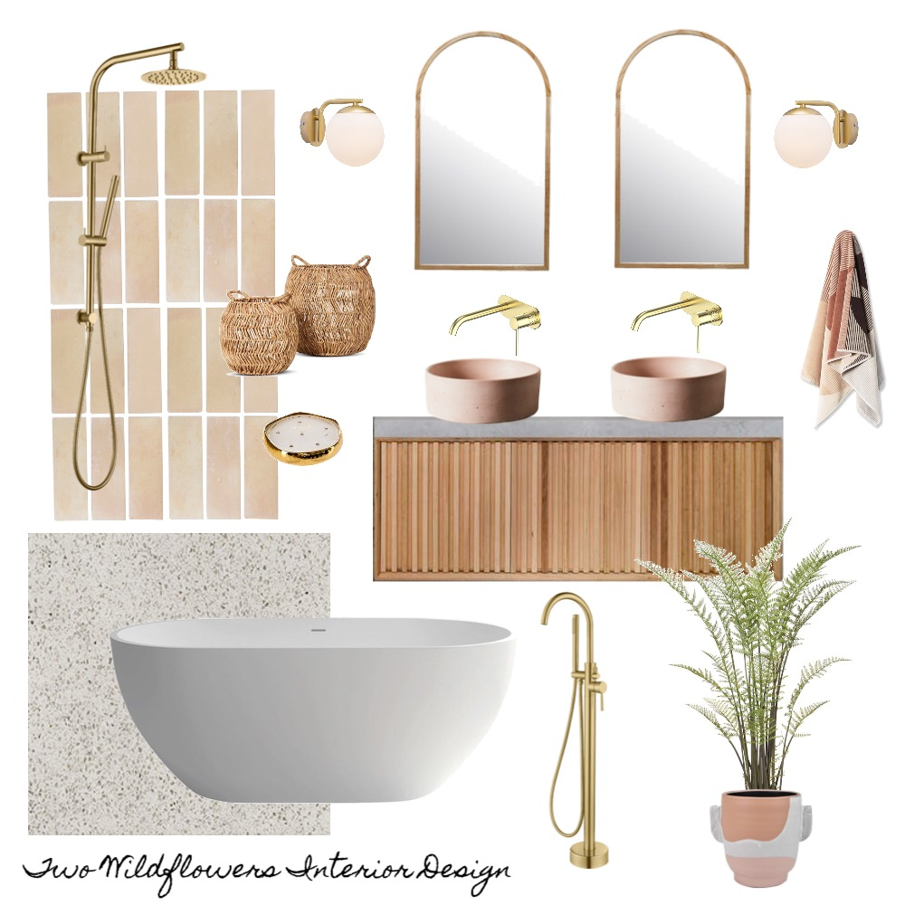 Interior Designers Hayley and Bonnie from Two Wildflowers Interior Design Terracotta Bathroom Mood Board
