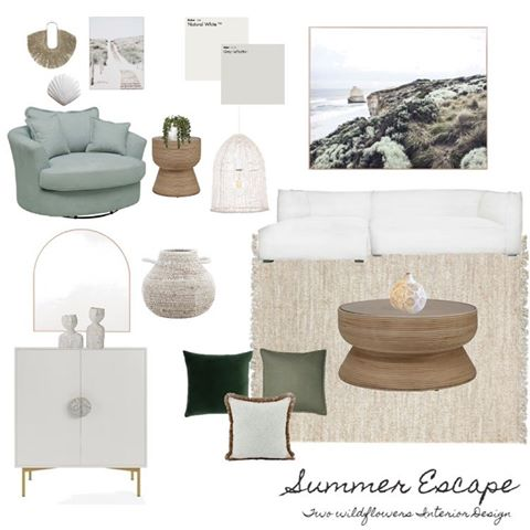 Interior Designers Hayley and Bonnie from Two Wildflowers Interior Design Summer Living Room Mood Board