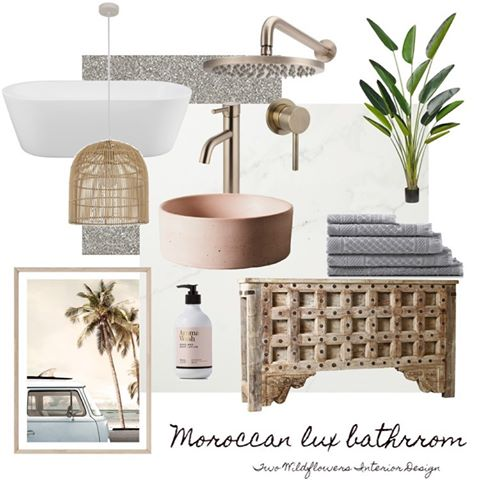 Interior Designers Hayley and Bonnie from Two Wildflowers Interior Design Moroccan Lux Bathroom Mood Board